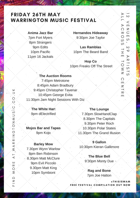 Friday 26th May Warrington Music Festival Lineup 2017