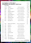 Saturday 27th May Warrington Music Festival Lineup