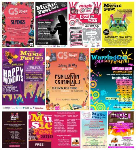 All Warrington Music Festival Posters
