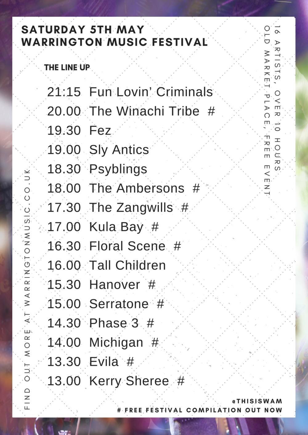 Warrington Music Festival Line up 2018