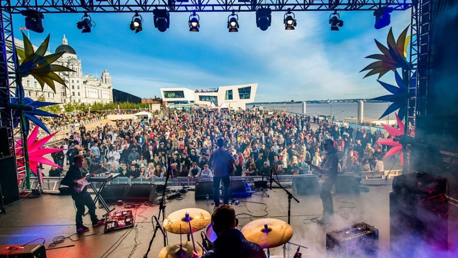 The Tea Street Band play on Liverpool Waterfront for BBC Music Day in 2015
