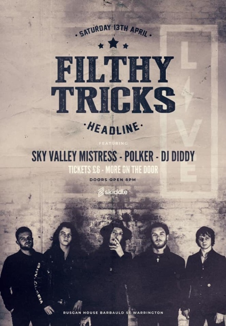 Filthy Tricks at Live Bars on Saturday 13th April